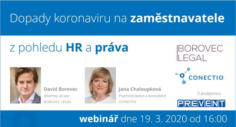 Webinář: Dopady koronaviru na zaměstnavatele z pohledu HR a práva.